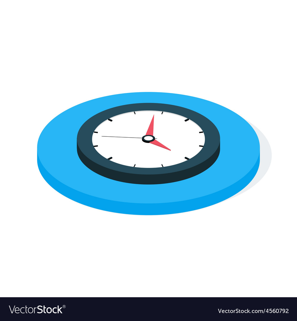 Flat Isometric Business Clock