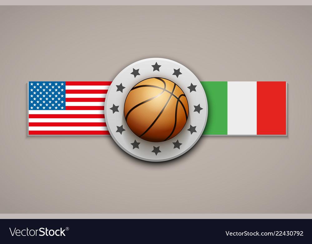 Premium basketball label with team flag