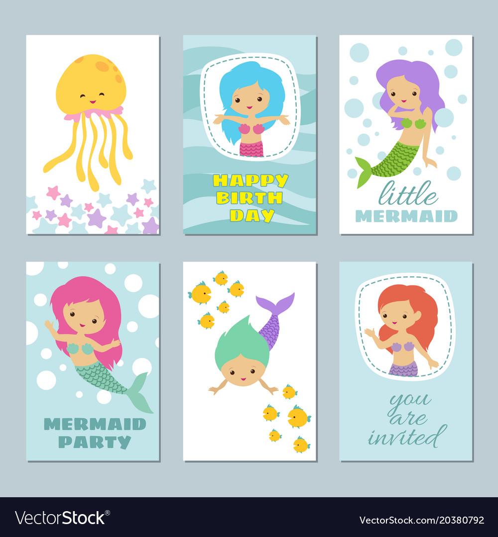 Pretty baby mermaids birthday greeting card vector image m4hsunfo