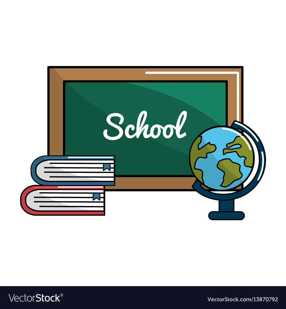 School board with books and earth planet desk icon vector image