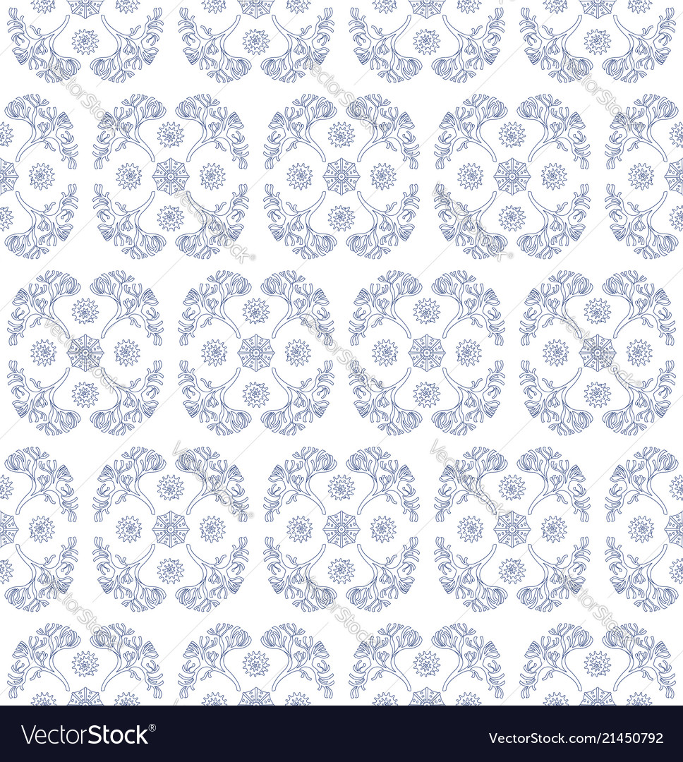Seamless pattern with algae and shells groups