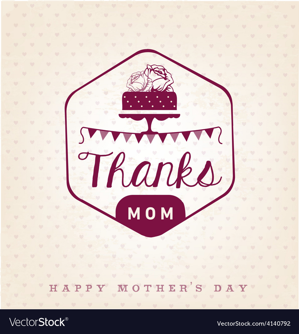 Thanks mom design element greeting cards vector image m4hsunfo