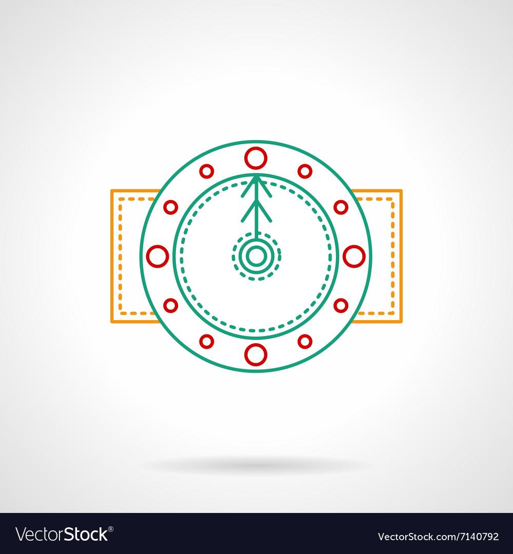 Thin color line round clock icon