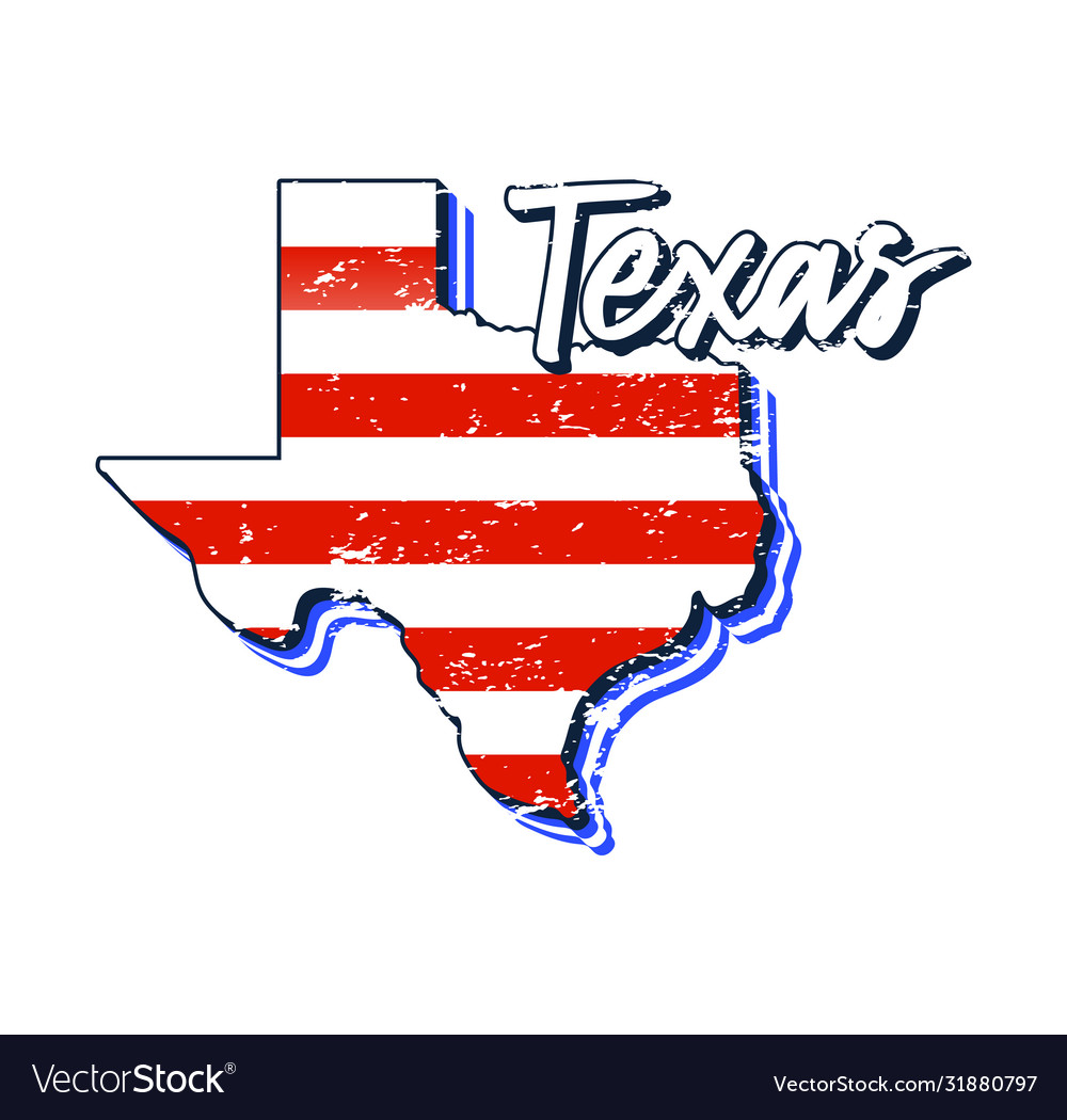 American flag in texas state map grunge style