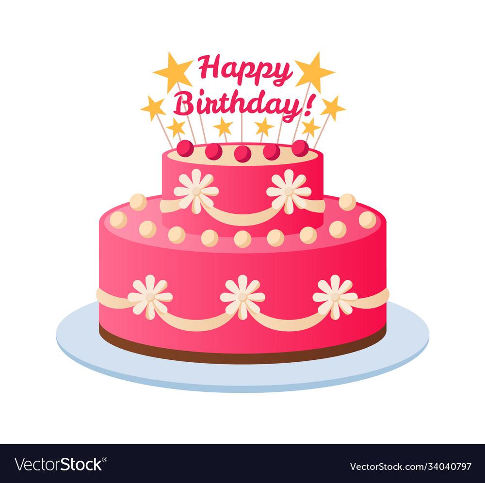 Birthday cake colorful pink celebration dessert