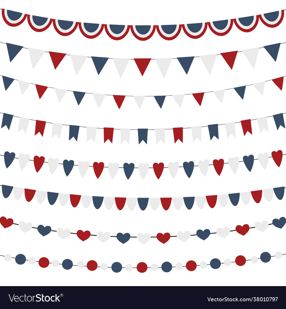 Bunting flags set for independence day isolated