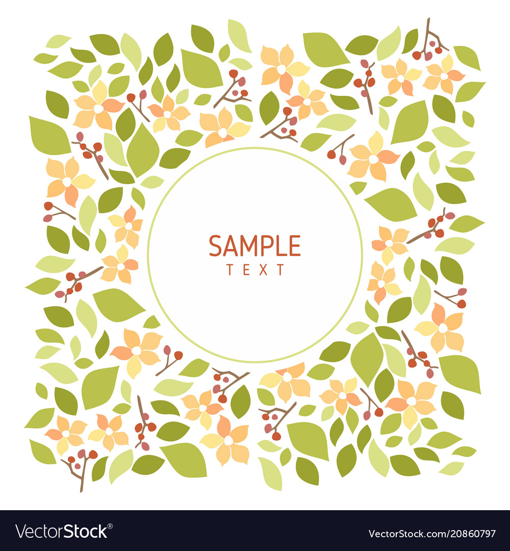 Card with flowers and leaves wedding ornament