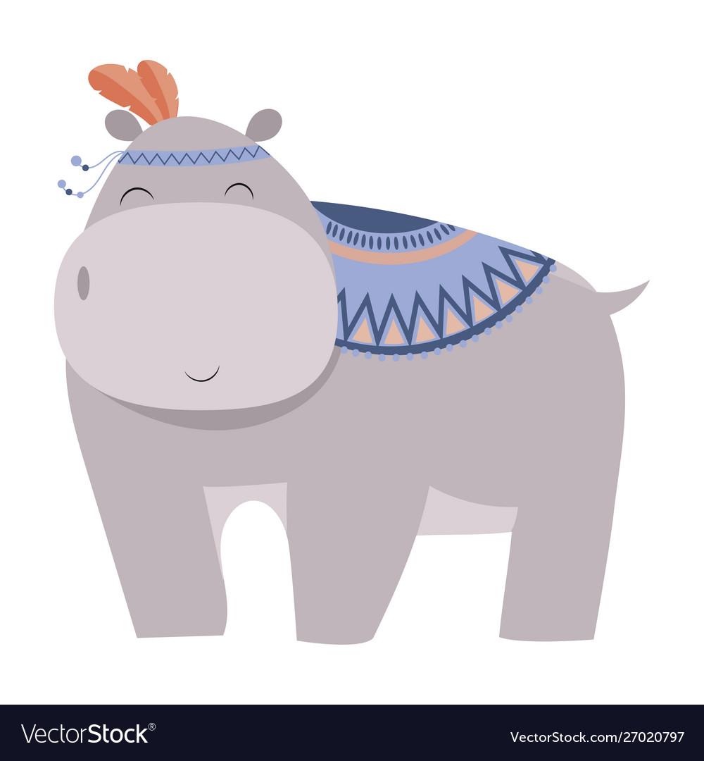 Cartoon hippo indian a