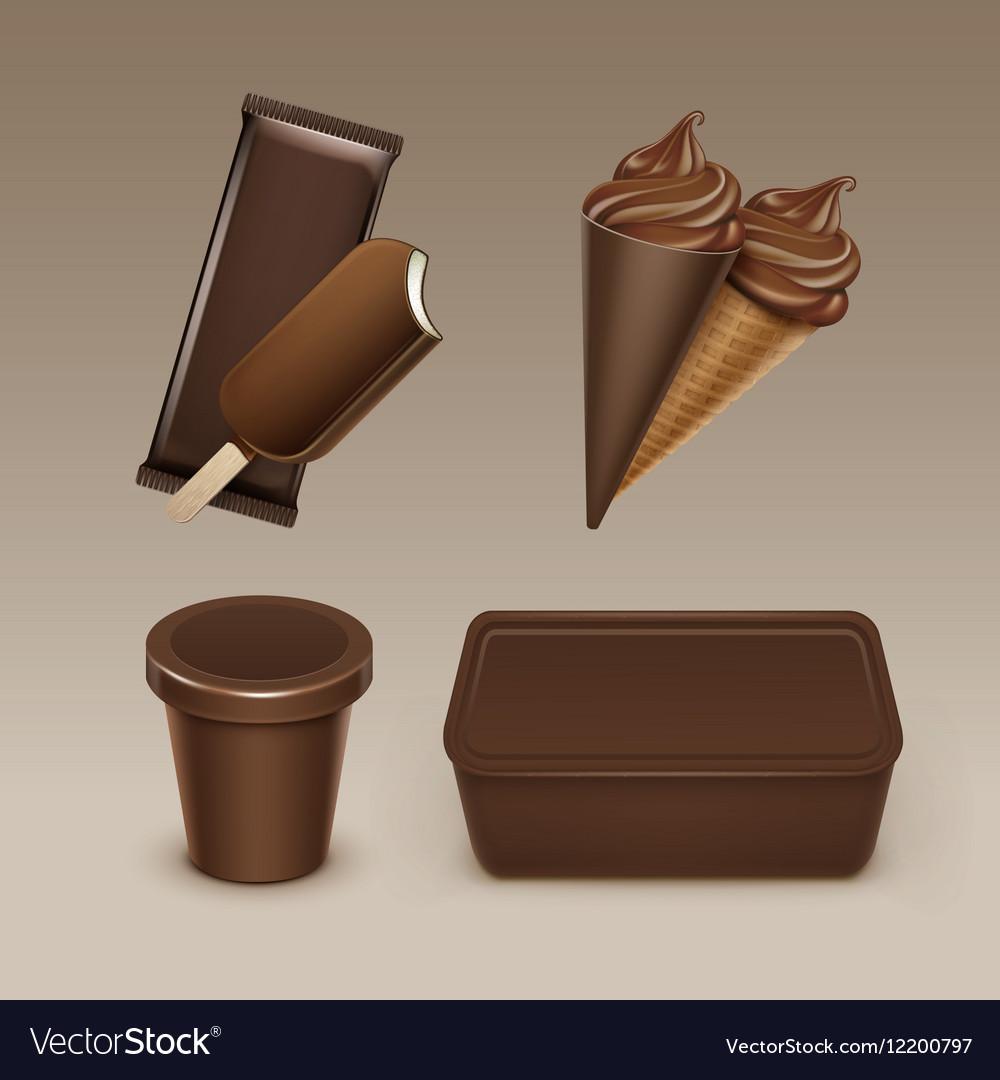 Chocolate Ice Cream Waffle Cone with Plastic Box