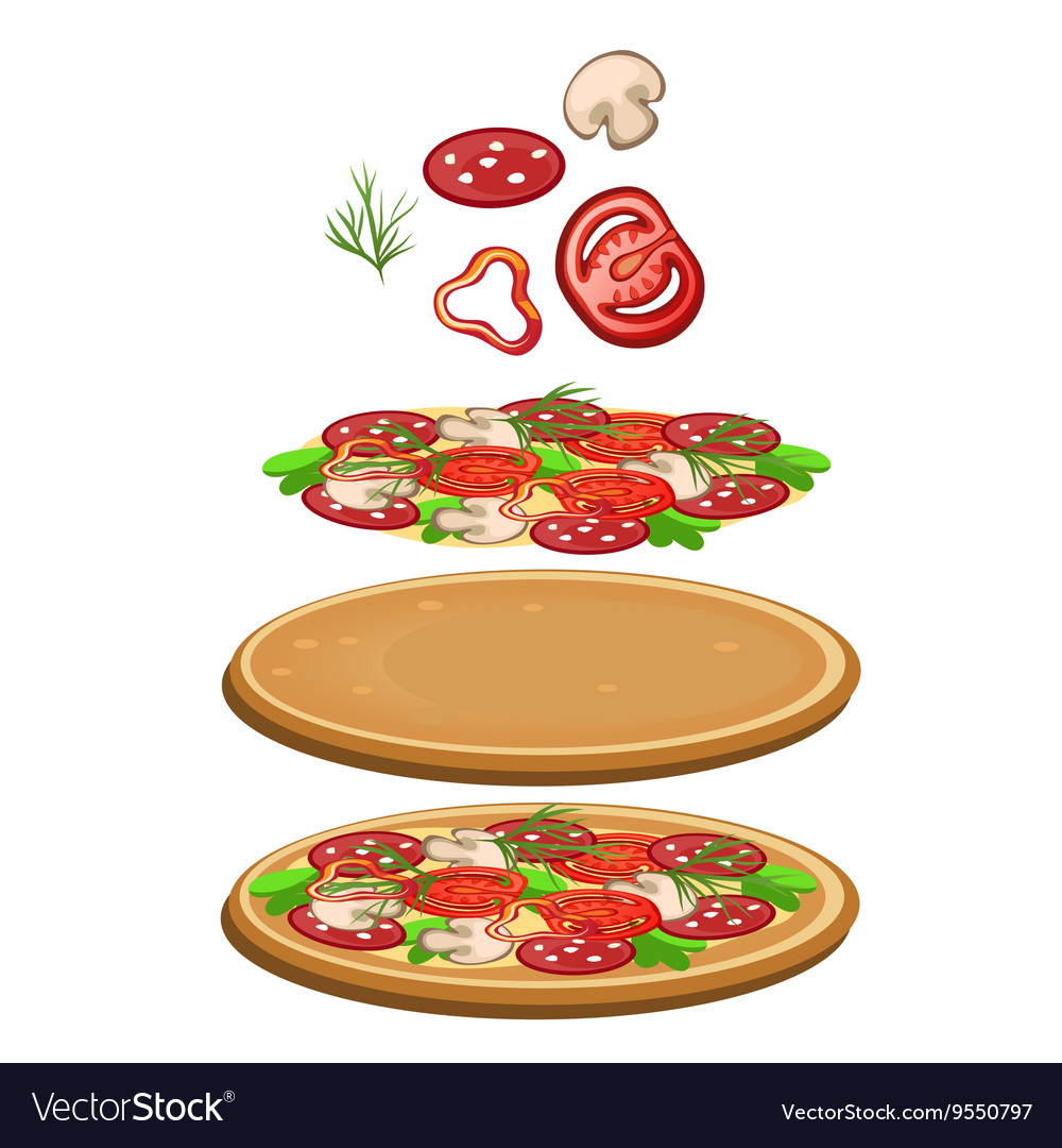 Ingredients for cooking pizza icon food
