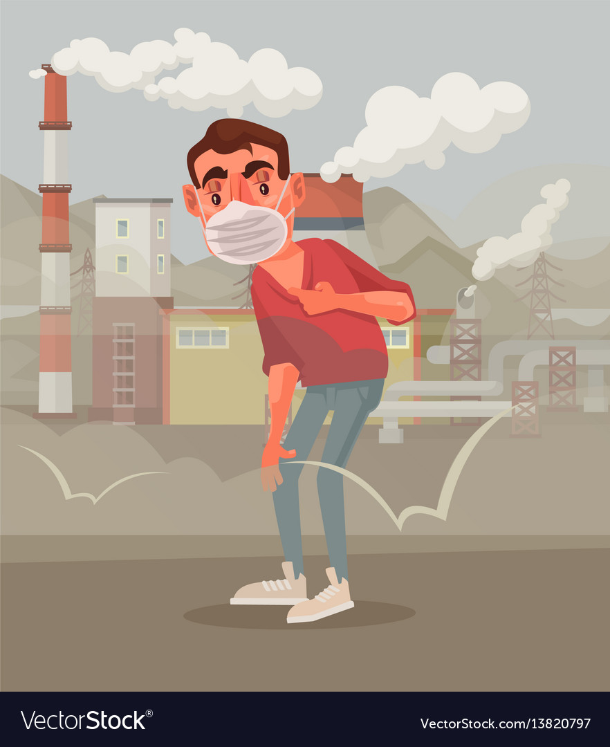 Man protective mask polluted air