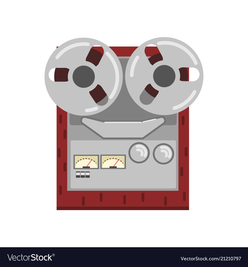 Retro reel recorder tape player vector image