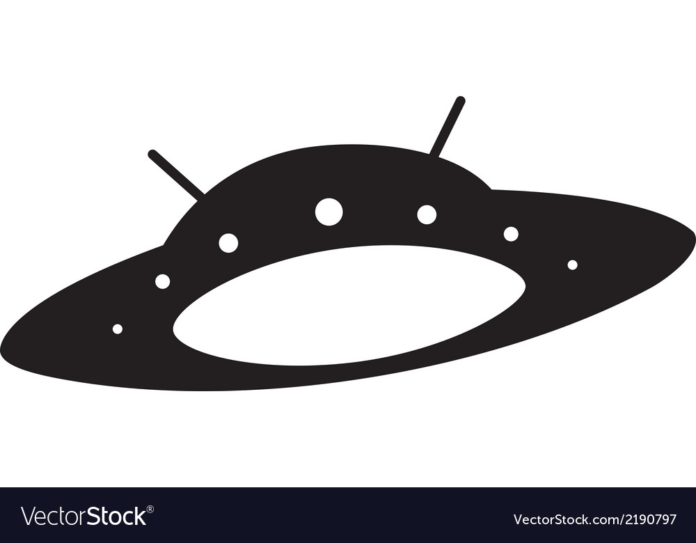silhouette of flying saucer royalty free vector image