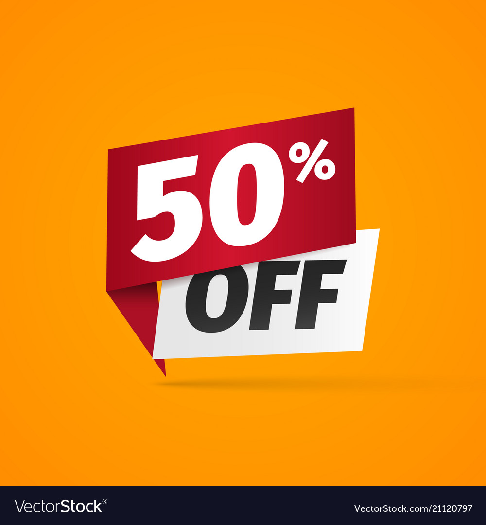 Sticker with fifty percent discount 50 percentage