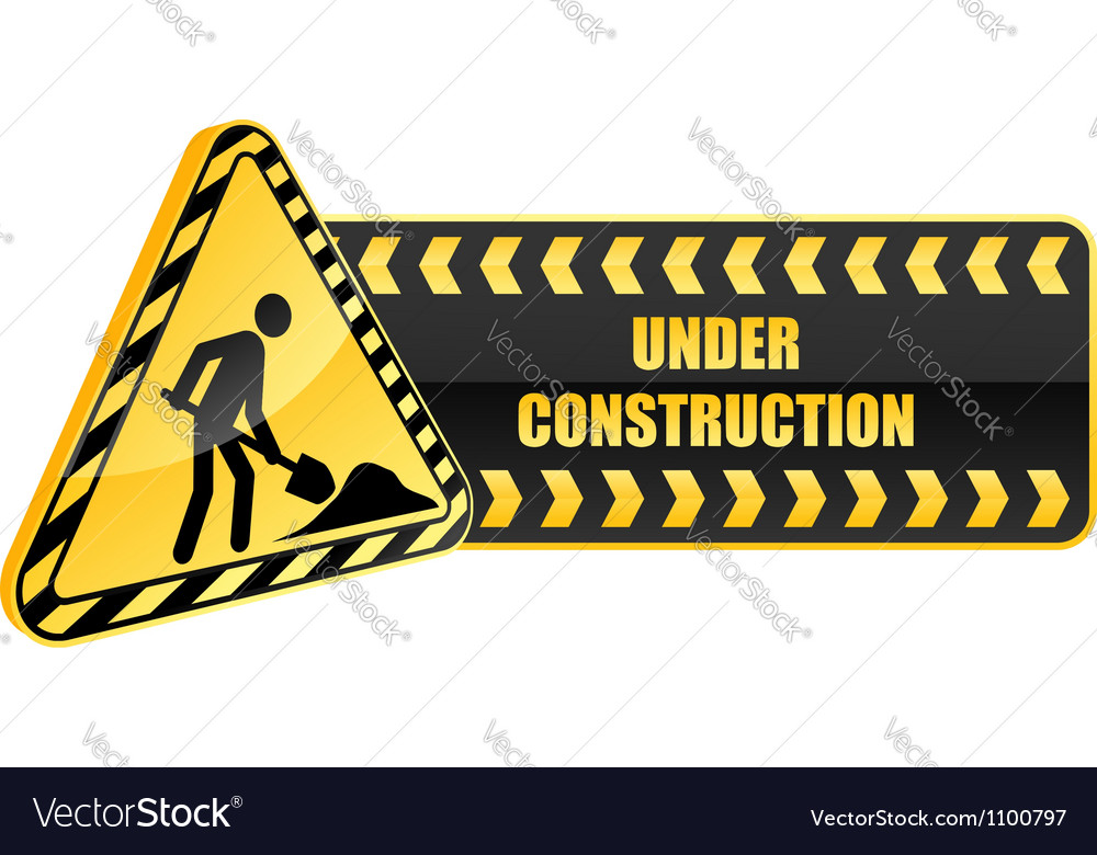 Under construction icon and warning sign