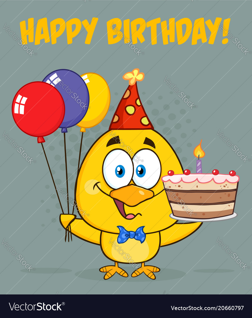 Yellow chick cartoon character wearing a party hat