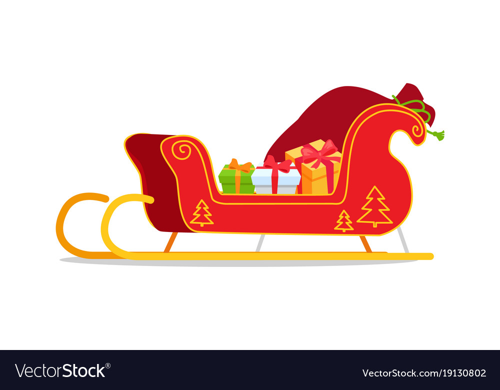Christmas Sleigh With Presents Royalty Free Vector Image