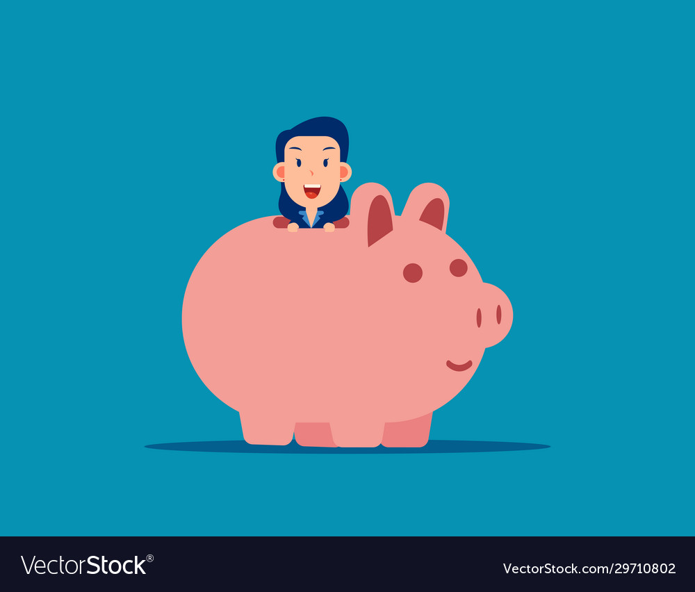 Cute business man with piggy bank business