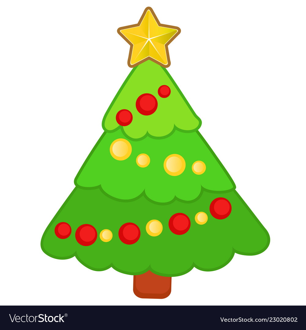 Drawn funny christmas tree with ornaments isolated