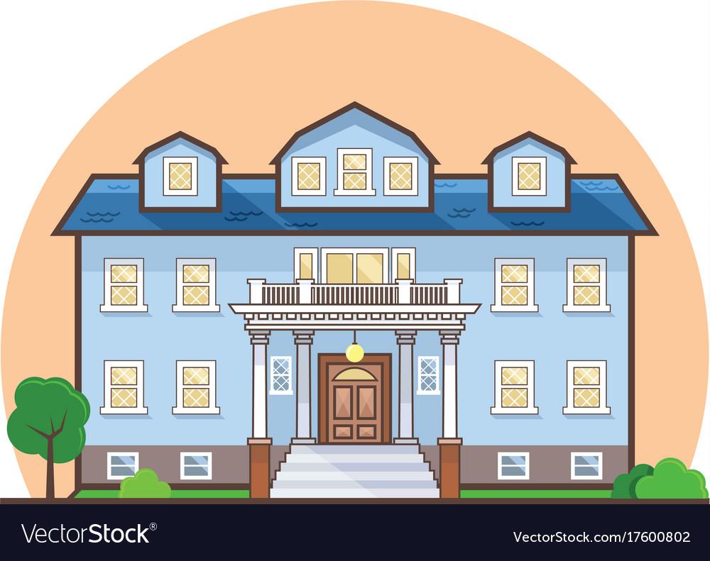 Fancy flat cottage house vector image