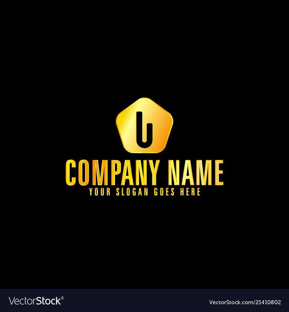 Golden letter u emblem with black background