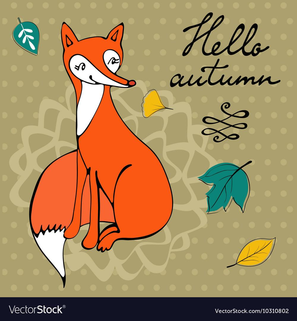 Hello autumn elegant card with cute fox character