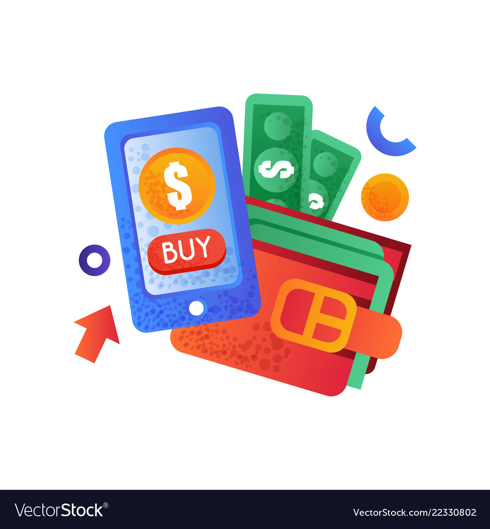 Modern smartphone and wallet with money mobile
