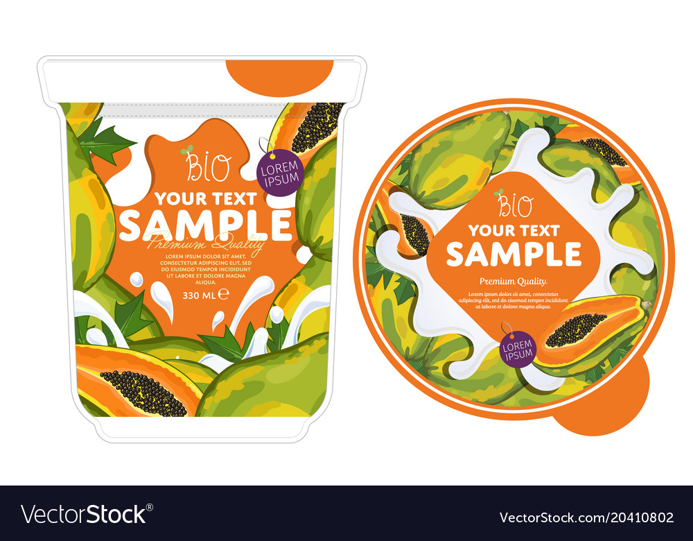 papaya yogurt packaging design template royalty free vector