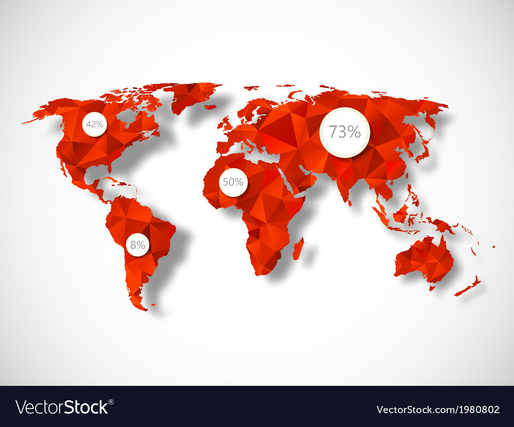 Polygonal world map with infographic elements vector image gumiabroncs Images