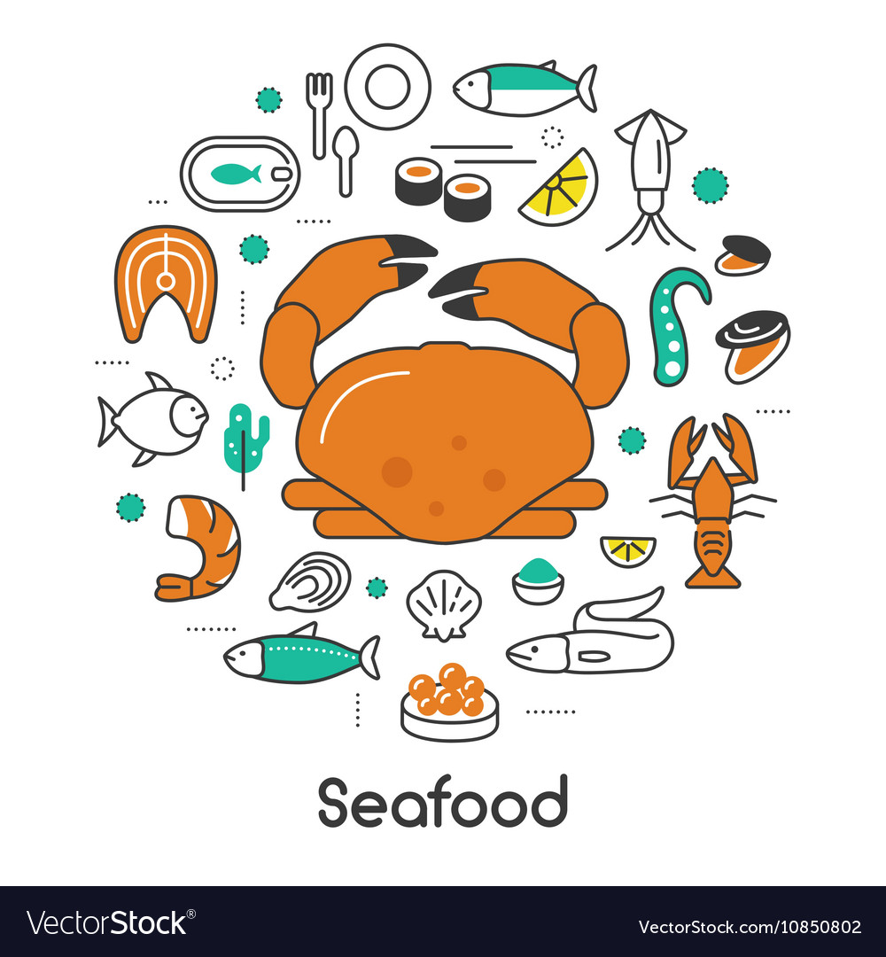 Seafood Thin Line Icons Set with Fish Shrimp