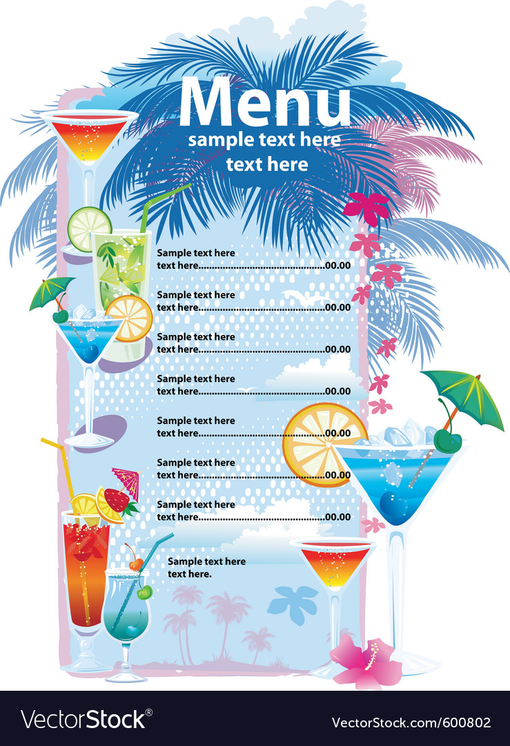 template designs of cocktail menu royalty free vector image
