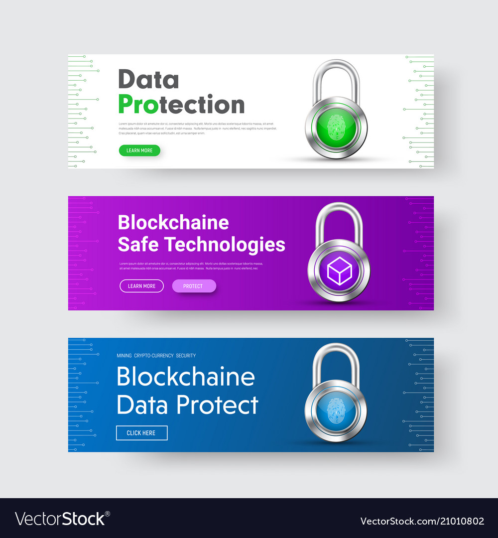 Template of horizontal web banners with padlock