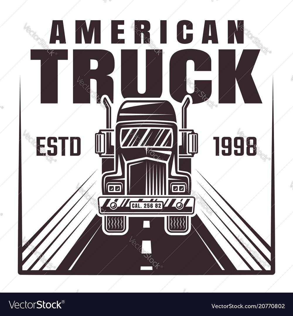Truck on road monochrome