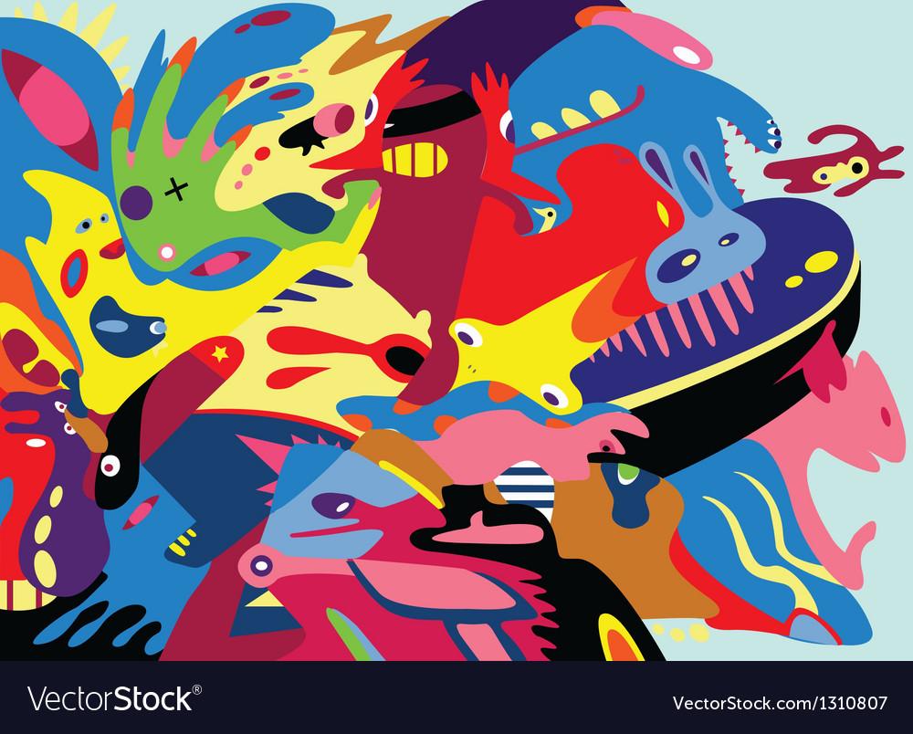 Abstract graffiti characters vector image