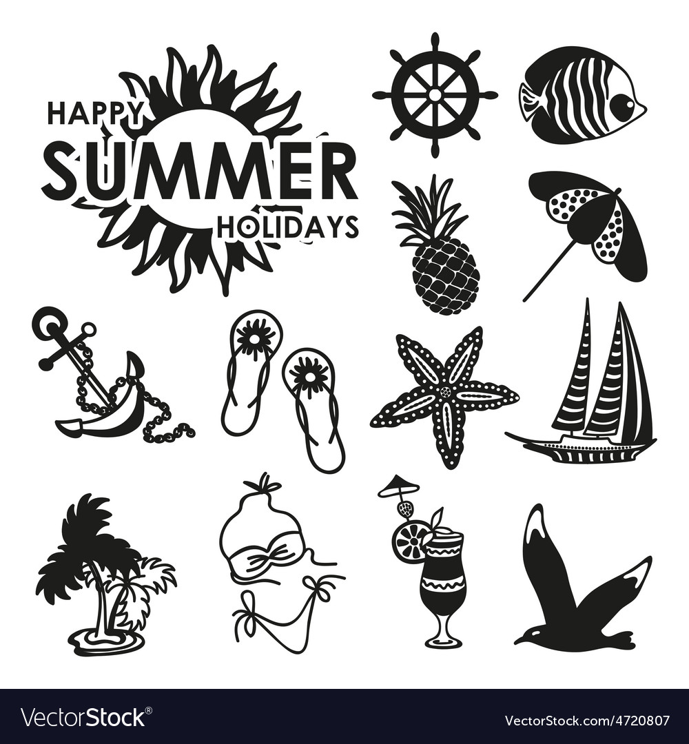 black and white summer icons royalty free vector image vectorstock