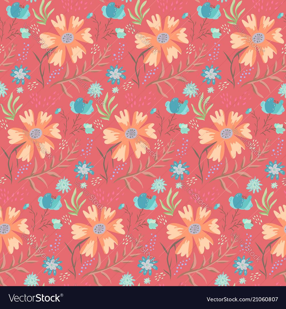 Bright doodle red floral summer pattern