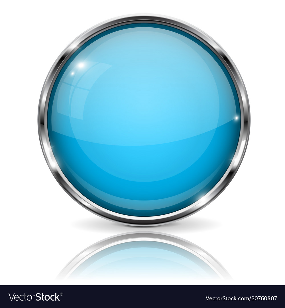 Glass blue button with chrome frame round 3d