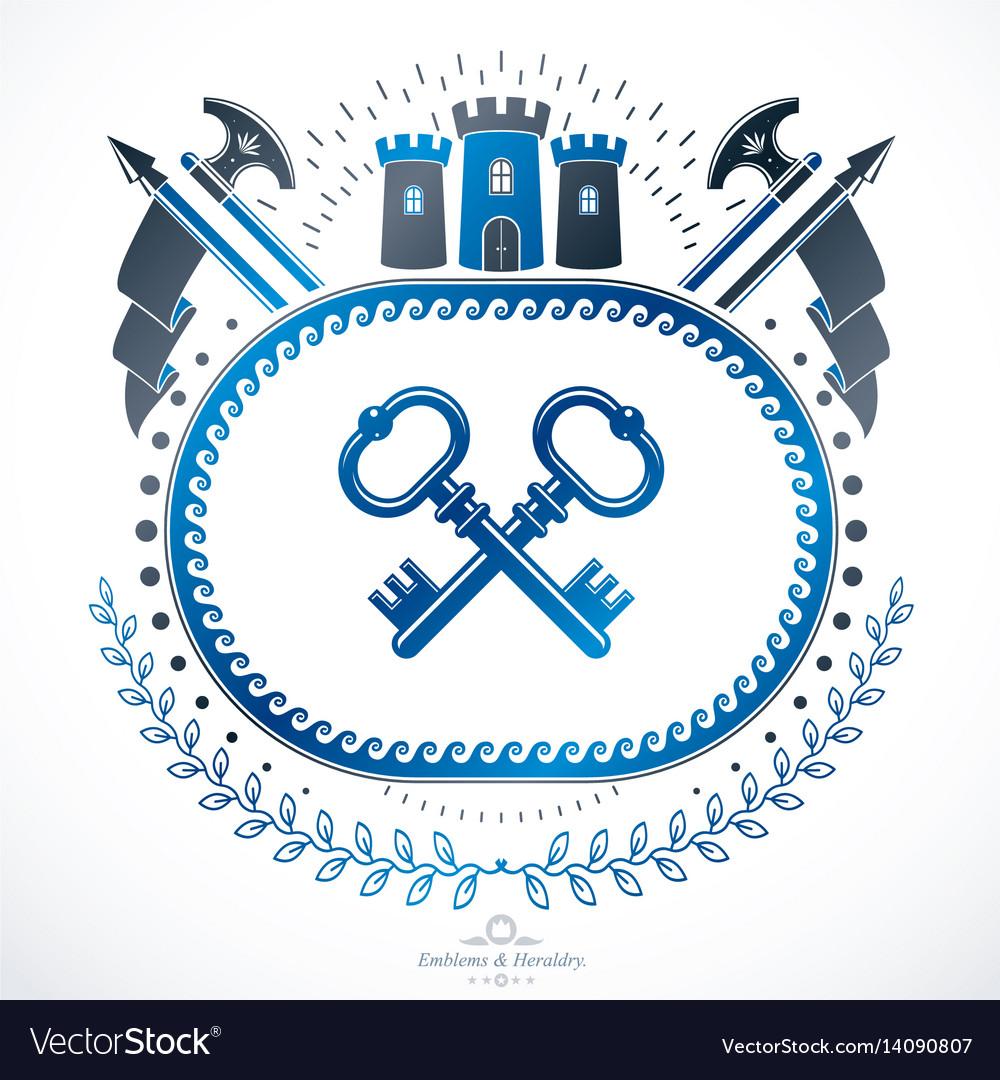 Luxury heraldic emblem template blazon