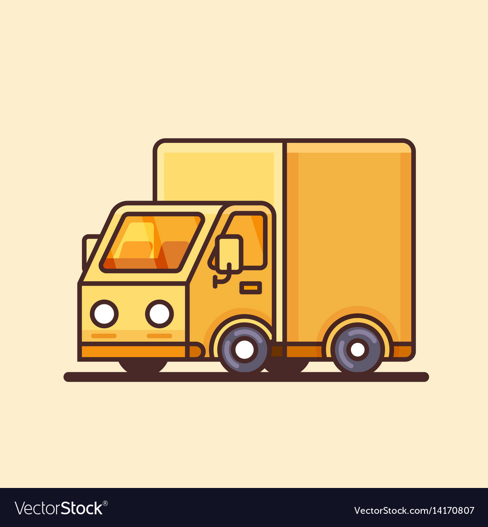 Modern yellow delivery truck icon