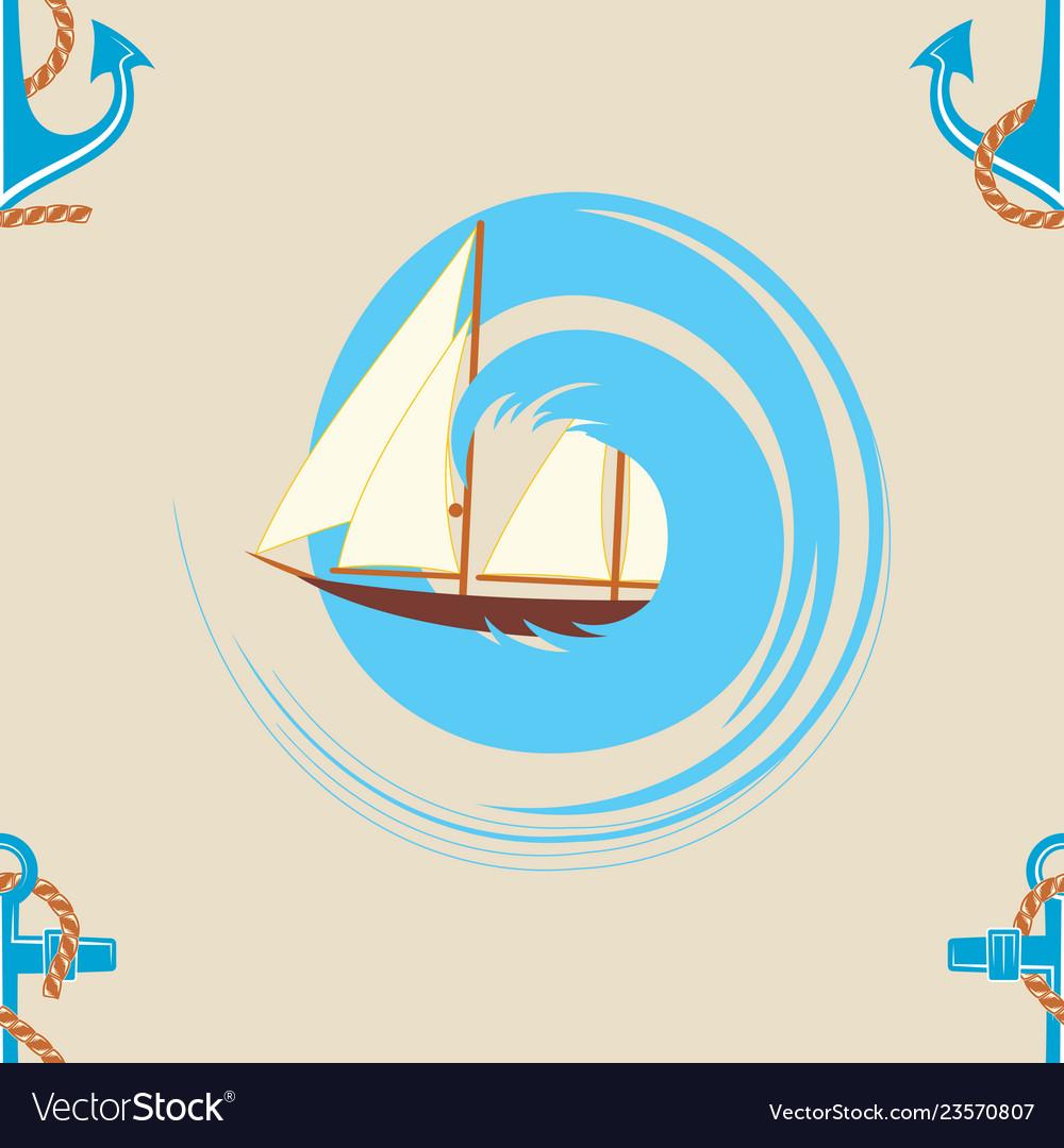 Pattern 0103 sailing ship wave and an anchor