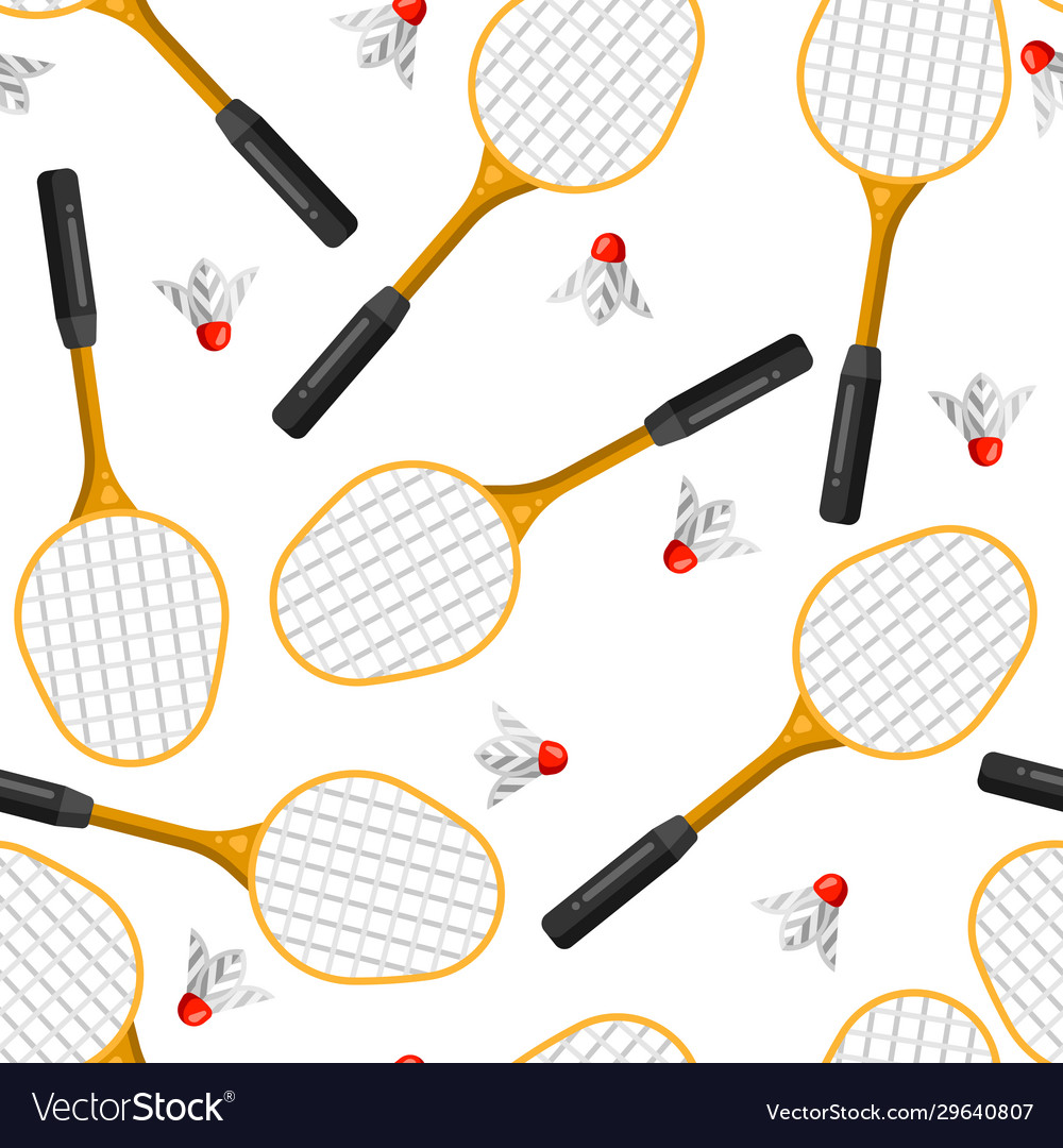 Seamless pattern with badminton rackets and