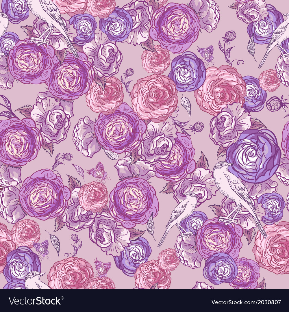 Seamless Rose Background with Birds