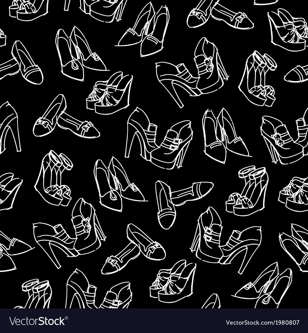 Seamless shoes sketch pattern