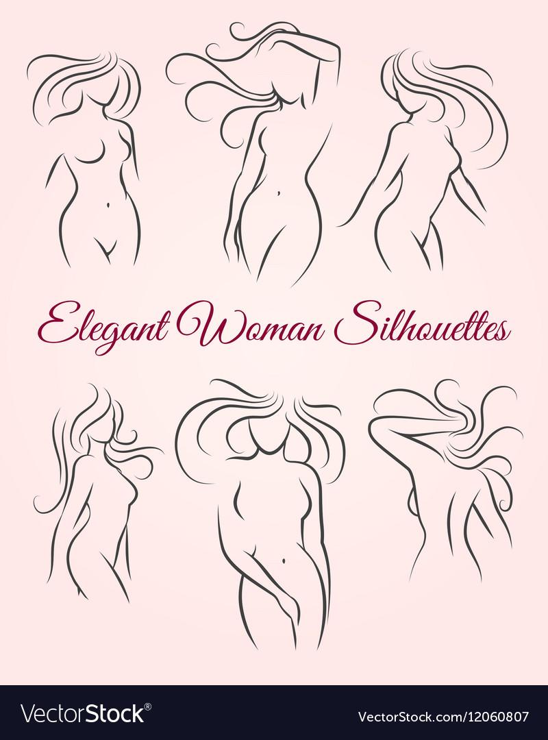 Six elegant woman silhouettes