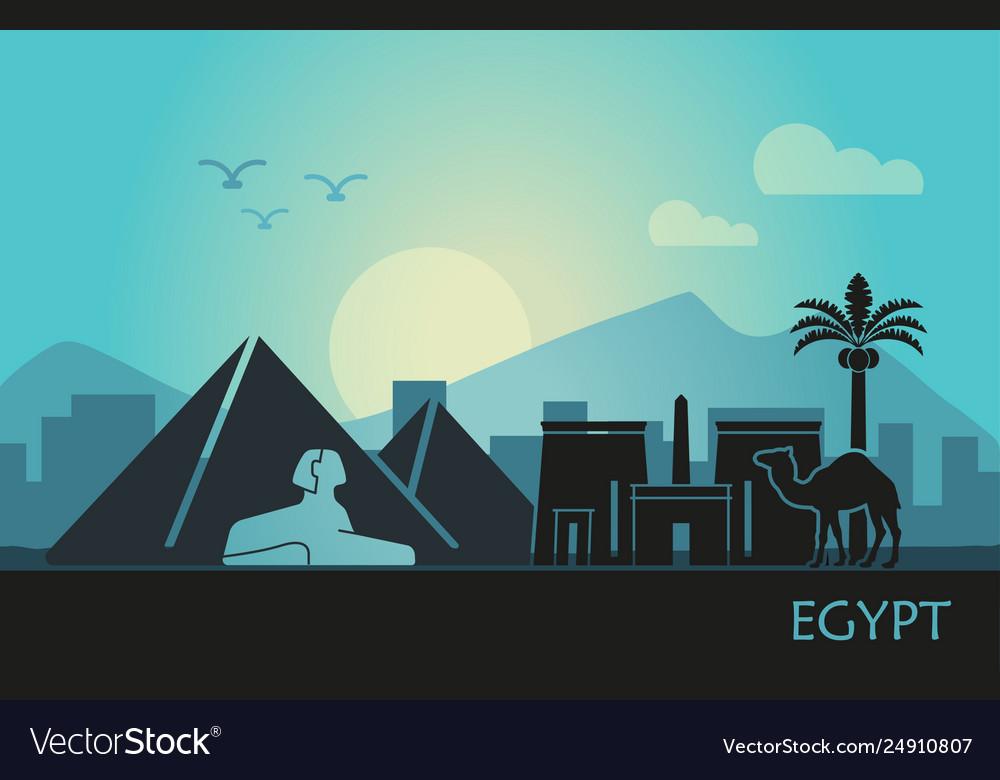 Stylized landscape egypt at sunset