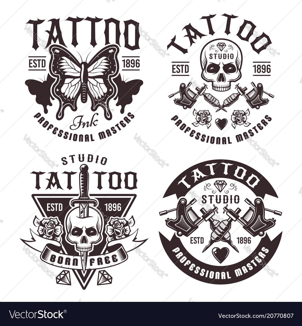 Tattoo studio set four vintage emblems