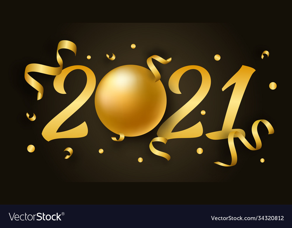 2021 happy new year with 3d realistic numbers and
