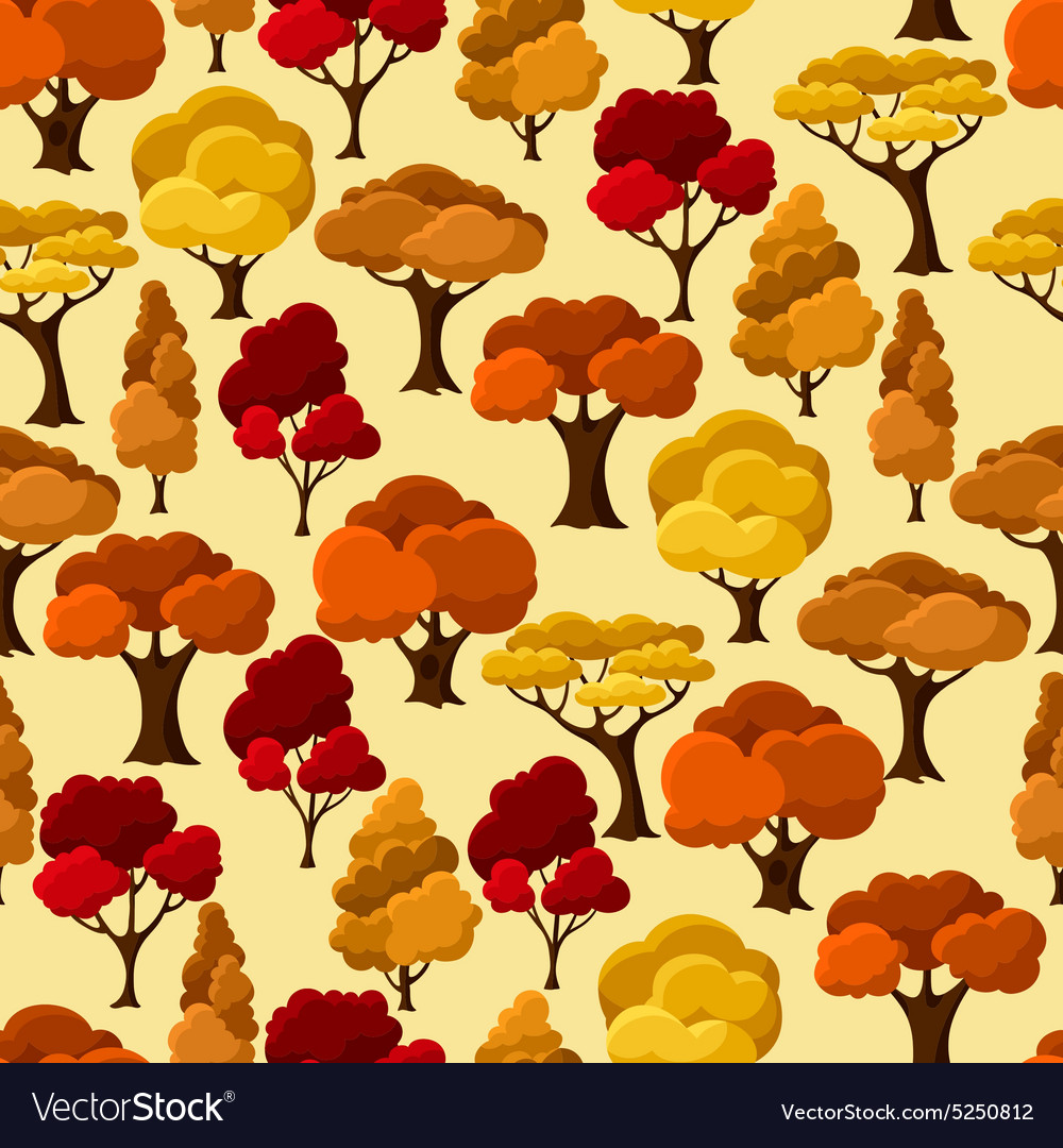 Autumn seamless pattern with abstract stylized