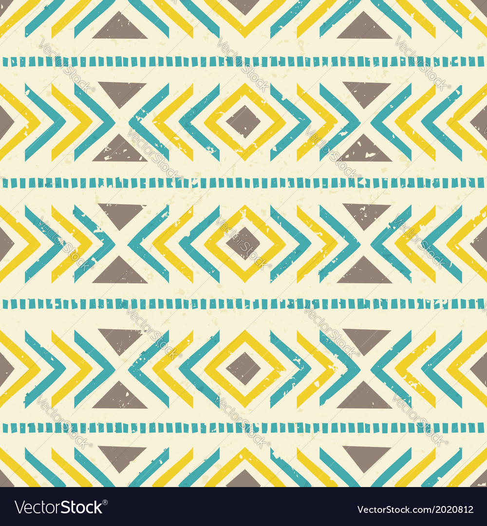 Aztec seamless pattern in brown yellow and blue