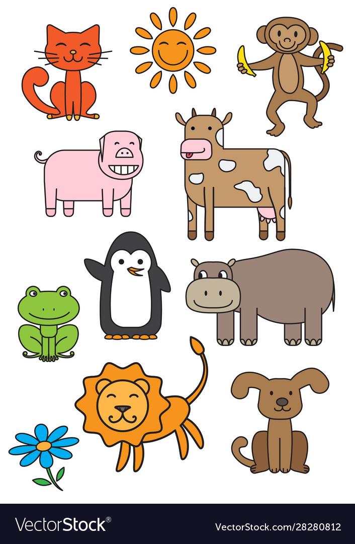 Cartoon Animals Printable Set Royalty Free Vector Image
